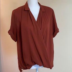 silence & noise maroon short sleeve blouse